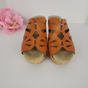 Earthies Sentina Apricot Wedge Sandals